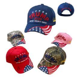 24 Units of TRUMP 2020 Keep America Great HAT [Emb Flag on Bill] - Baseball Caps & Snap Backs