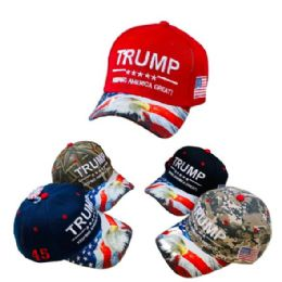 24 Units of Trump Hat Eagle And Flag Print On Bill - Baseball Caps & Snap Backs