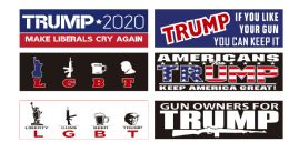 144 Units of Trump Bumper Stickers - Signs & Flags