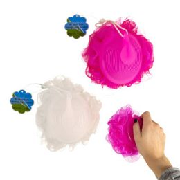 24 Units of Bath Sponge With Contoured Handle Two Assorted Colors - Loofahs & Scrubbers