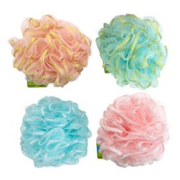 36 Units of Bath Sponge With Glitter Ribbon 50g 4 Assorted Styles - Loofahs & Scrubbers