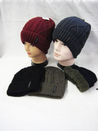 36 Units of Warm Chunky Soft Stretch Cable Knit Beanie With Fleece Lining - Winter Beanie Hats