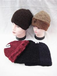 36 Units of Knit Beanie Winter Thick Solid Fleece Lined Beanie Hats - Winter Beanie Hats