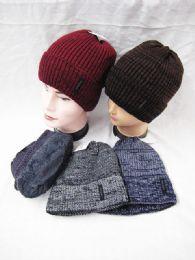 36 Units of Mens Winter Warm Knitting Hats Plain Skull Beanie Cuff - Winter Beanie Hats