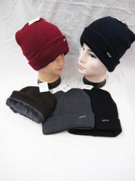 36 Units of Mens Winter Warm Knitting Hats Plain Skull Beanie Cuff Lined - Winter Beanie Hats