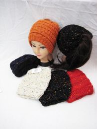 36 Units of Womens Colored Speckle Beanie Knit Hat - Winter Beanie Hats