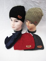 36 Units of Winter Hat Warm Knitted Wool Thick Beanie Skull Cap Fleece Lined - Winter Beanie Hats