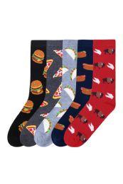 180 Units of Men's Assorted Printed Food Crew Socks - Mens Crew Socks