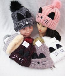 36 Units of Winter Beanie Cute Pom Pom Cat Ears Cuff Hats Soft Warm Thick Beanies Chunky Knit Hat Girls Ski Skull Caps - Winter Beanie Hats