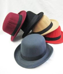 36 Units of Felt Fedora Hats Men Women Dress Wide Brim Gangster Gatsby Caps with Black Band - Fedoras, Driver Caps & Visor