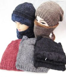 36 Units of Womens Scarf and Slouchy Knit Beanie Matching Winter Set Fleece Lined - Winter Sets Scarves , Hats & Gloves