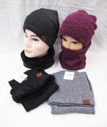 24 Units of Winter Knit Beanie Hat Neck Warmer Loop Scarf s Set Fleece Lined - Winter Sets Scarves , Hats & Gloves