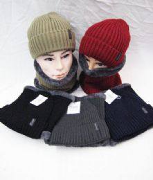 24 Units of Winter Knit Ribbed Beanie Hat Neck Warmer Loop Scarf s Set Fleece Lined - Winter Sets Scarves , Hats & Gloves