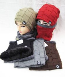 24 Units of Winter Beanie Hat Scarf Set Thick Fleece Warm Knit Unisex - Winter Sets Scarves , Hats & Gloves