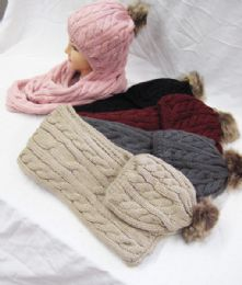 24 Units of Women Soft Warm Thick Cable Knitted Hat And Scarf Winter Set - Winter Sets Scarves , Hats & Gloves