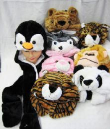 36 Units of Kids Teens Novelty Assorted Animal Plush Hat With Mittens Scarf Winter Rave Cosplay Party Snowboarding Hat - Winter Hats