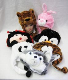 36 Units of Animal Hats Plush for Kids Assorted Hat Animals Critter Cap Winter Hat - Winter Animal Hats