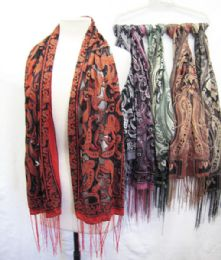 36 Units of Womens Tapestry Ethnic Paisley Pattern Pashmina Scarf - Womens Fashion Scarves