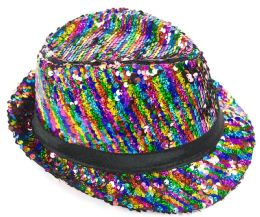 24 Units of Rainbow Striped Sequin Fedora Hat - Fedoras, Driver Caps & Visor