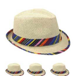 48 Units of Super Cute Natural Paper Straw Fedora Hat with Rainbow Ribbon Hatband - Fedoras, Driver Caps & Visor