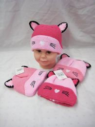 36 Units of Toddler Girl Winter Knitted Hat Fleece Lined With Cat Ears - Winter Beanie Hats