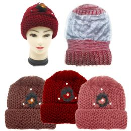 36 Units of Ladies Heavy Knit Winter Hat With Fur Lining - Winter Hats