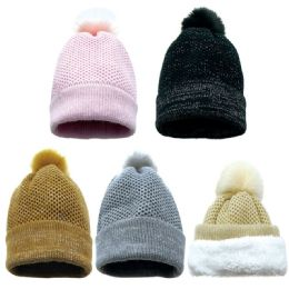 36 Units of Women's Heavy Knit Pom Pom Hat With Plush Lining - Winter Hats