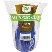 48 Units of Plastic Cups Solid Blue 16 Ounce - Disposable Cups