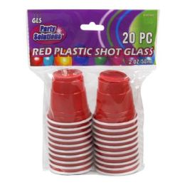 24 Units of 20 PIECE 2 OUNCE RED PLASTIC SHOT GLASS - Disposable Cups