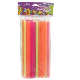 24 Units of 50 PIECE NEON SUPER STRAWS - Straws and Stirrers