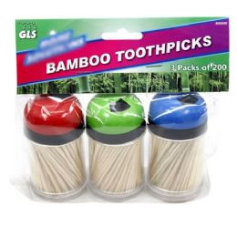 24 Units of Glselect Home Solutions Wooden Toothpicks With 3 Dispensers - Toothpicks
