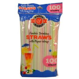 48 Units of 100 Count Neon Straw Wrapped In Paper - Straws and Stirrers