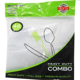 48 Units of 48 Count Clear Combo Heavy Duty Cutlery - Disposable Cutlery