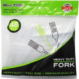 48 Units of 48 Count Clear Fork Heavy Duty Cutlery - Disposable Cutlery