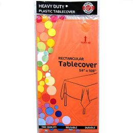 48 Units of Orange Plastic Tablecover Rectangle - Party Paper Goods