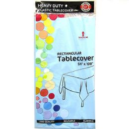 48 Units of Light Blue Plastic Tablecover Rectangle - Party Paper Goods