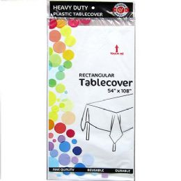 48 Units of White Plastic Tablecover Rectangle - Party Paper Goods