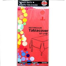 48 Units of Watermelon Red Plastic Tablecover Rectangle - Party Paper Goods