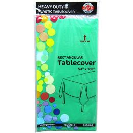 48 Units of Hunter Green Plastic Tablecover Rectangle - Party Paper Goods