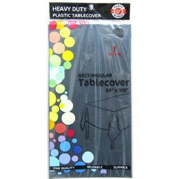 48 Units of Black Plastic Tablecover Rectangle - Party Paper Goods