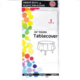 48 Units of White Plastic Tablecover Round - Party Paper Goods