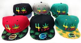 24 Units of Snap Back Flat Bill Marijuana Leaf 4:20 Design Hat - Baseball Caps & Snap Backs