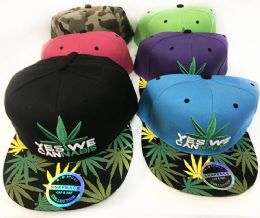 24 Units of Snap Back Flat Bill Marijuana Yes We Cannabis Assorted - Baseball Caps & Snap Backs
