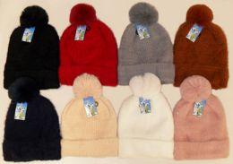 36 Units of Women's Fleece Lined Soft Ski Hat With Pom Pom - Winter Hats