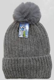 36 Units of Women's Fleece Lined Chenille Ski Hat With Pom Pom - Winter Hats