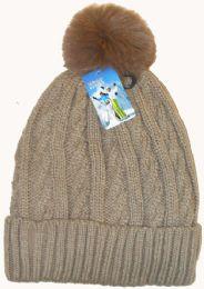 36 Units of Women's Fleece Lined Ski Hat With Pom Pom - Winter Hats