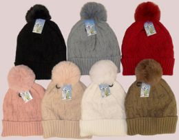 36 Units of Women's Fleece Lined Ski Hat With Pom Pom - Winter Hats