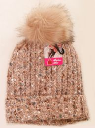 36 Units of Women's Fashion Fleece Lined Ski Hat With Pom Pom - Winter Hats