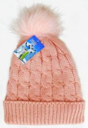 36 Units of Kid's Fashion Fleece Lined Ski Hat With Pom Pom - Winter Hats