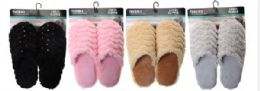 48 Units of Women's Plush House Slipper On Card - Women's Slippers